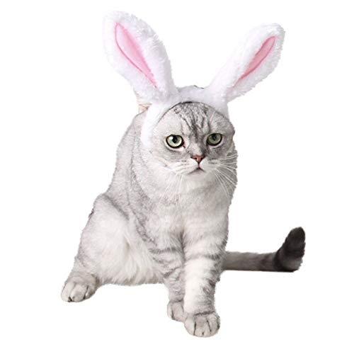 CheeseandU Haarreif für Hunde und Katzen, süßes Hasenohren für Halloween, Weihnachten, Ostern, Party, Kopfbedeckung, Accessoires, Weiß und Rosa, Small