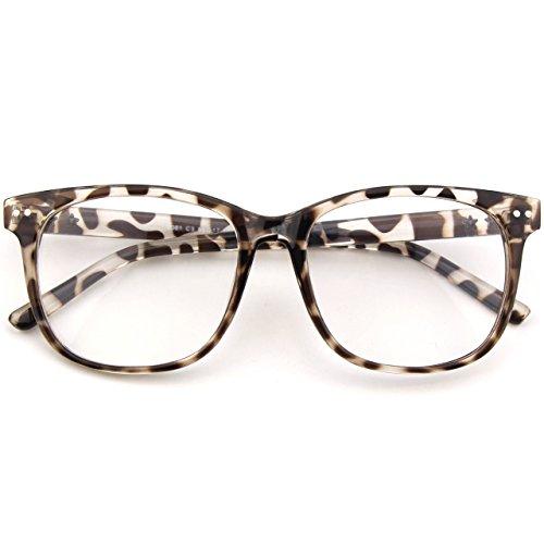 CGID CN81 Damen Herren Styler klassische Nerdbrille Streberbrille Pantobrille 80er Jahre Klarglas Fashion Oversized Nerd Geek Style,Mehrfarbig B