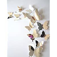 LANDFOX Pegatinas de pared Decal Mariposas Espejo 3D Decoración de Hogar