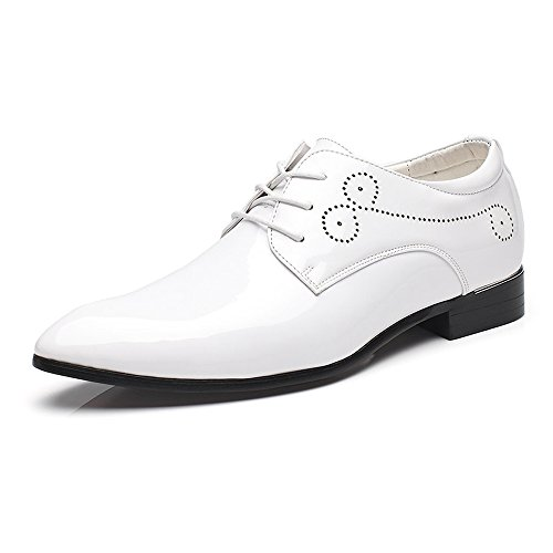 Hilotu Spielraum!Hochzeitsschuhe,Lackschuhe aus Lackleder für Herren Schnüren Sie sich formelle Business Oxford Schuhe (Color : Weiß, Größe : 43 EU) -