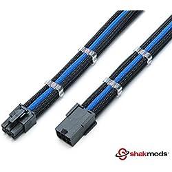 Câbles d'extension Shakmods pour carte graphique (ou GPU) - Câbles thermorétractables de 30 cm - Avec 6 broches - Bleu foncé et noir - Avec 2 organiseurs de câbles