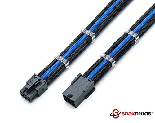 Shakmods PCIE-GPU-Grafik-Verlängerungskabel, 6-polig, dunkelblau und schwarz, schrumpft bei Hitze nicht, geschirmt, mit 2 Kabelkämmen, 30 cm -