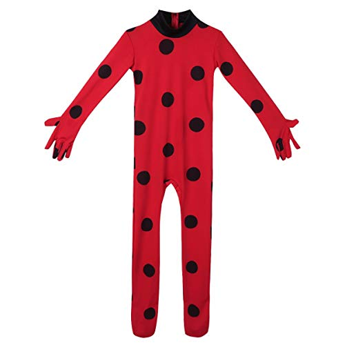 Jungen Kostüm Bug - Tiaobug Mädchen-Kind-Kostüm Marien Miraculous / Schwarze Katze Körperanzug Langarm Erbsen & Mask & Bag Ladybug Bodysuit Cosplay Karneval Kostüm 5-12 Jahre 5-6 Jahre Rot