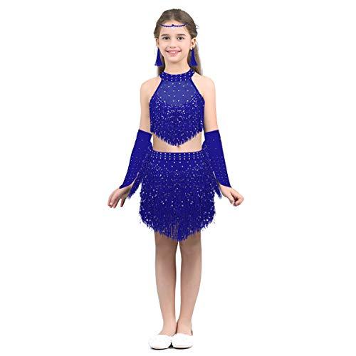 MSemis Kinder Mädchen Latein Tanzbekleidung Pailletten Flapper Kleid Quaste Bauchtanz Set Outfit Crop Top + Rock + Stirnband + Ohrringe + Armärmel Blau 152-164/12-14 - Tanz Kostüm Flapper Kind