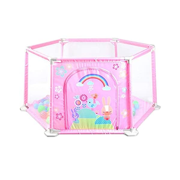 ReallyPow Baby Playpen Fence Baby Playpen Bed Safety Gates for Kids Children Protection (Pink)  Material: Oxford Cloth + PVC + PP; Dimensions: 148*66.5*64cm; Weight: 1400g. The structure is made of high-quality plastic, no bisphenol A, strong and durable, aging resistant; Sides are made of Upgraded environmentally friendly oxford mesh, soft, refreshing and breathable, pilling resistant, no discoloration, fadeless. With 0.3x0.2mm holes in the mesh will not block your sight, you can watch the baby at any time. 1