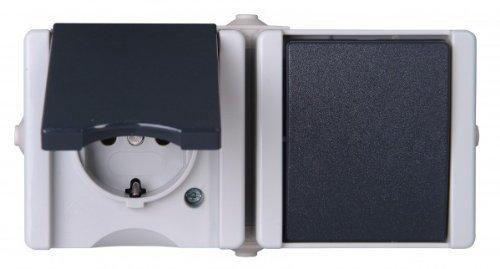 139456006 Pro AQA Aufputz-Feuchtraum Schalterprogramm Aus-/Wechselschalter-Steckdosenkombination waagerecht