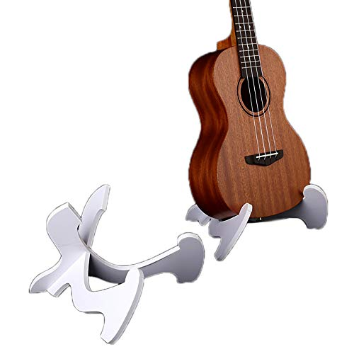 Winbang Gitarrenständer, faltbare Gitarren-Ukulele-Violinenständer, langer Teamständer-Halter (Weiß)
