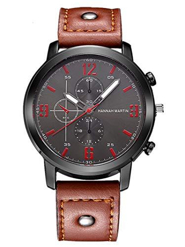 Lazzgirl Armbanduhr aus Quarz-Armbanduhr im Retro-Design-Lederarmband(Schwarz Braun,One Size) (U-Braun)