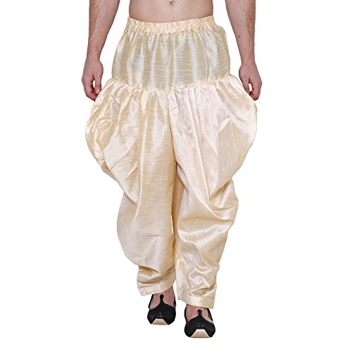 Royal Men's Silk Blend Baggy Patiala Salwar Pant's For Men (gold)