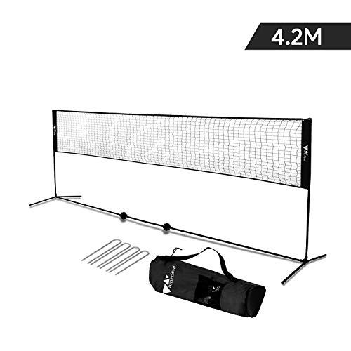Amzdeal Badminton Netz Tragbares Volleyball- und Tennis- Netz mit Verstellbaren Höhen faltbares Federballnetz Outdoor Trainingsnetz (Schwarz)