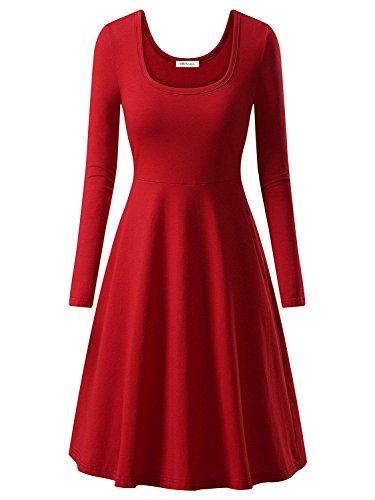 OhSeaya Damen Einfache Beiläufiges Langarm Basic Kleider Falten Stretch Freizeitkleid Knielang BKS557-REM (Stretch-rock A-linie)