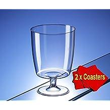 Copas de vino de plástico desechables de una pieza (150 ml) – Ideal para barbacoas, acontecimientos especiales, acampada y picnic.Paquete de 20 vasos con 2 posavasos