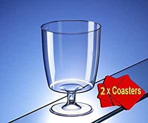 20 x One piece disposable plastic wine glasses (200ml). Ideal for picnics, camping and glamping, festivals, outdoor pool, bbq, garden and special occasions. Offer glasses with 4 x AIOS drinks mats in box. by Regalzone