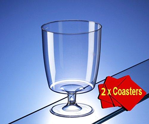 Lot de 20 verres à vin monoblocs en plastique jetables 150 ml avec 2 dessous de verre AIOS, dans une boîte