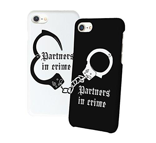 Partners in crime handcuffs iphone relazione amicizia accoppiamento custodia protettiva in plastica rigida phone case periil migliore amico iphone 6, 6s, 7, 7 plus, 6 plus, 8, x case