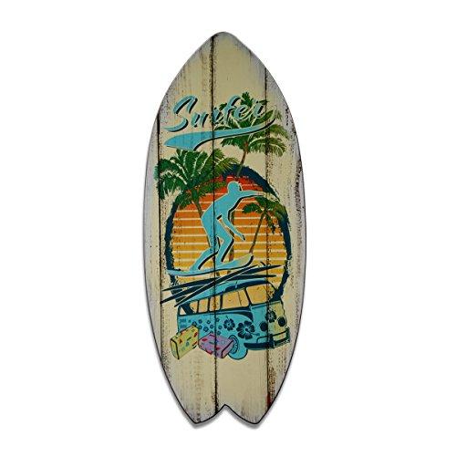 bestpricepictures Deko Surfbrett Wandschild Surfer 4501-SCT deutsche Marke und Lager - das Dekoschild/das Holzschild/das Wandschild ist 60 x 25 cm