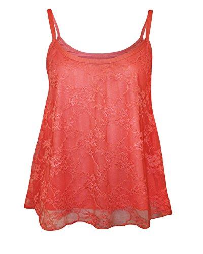 Glamour Babe Damen Formendes Top, Geblümt, Orange, UBAN77_Colour_CORAL_Size L/XL (Glamour Camisole)
