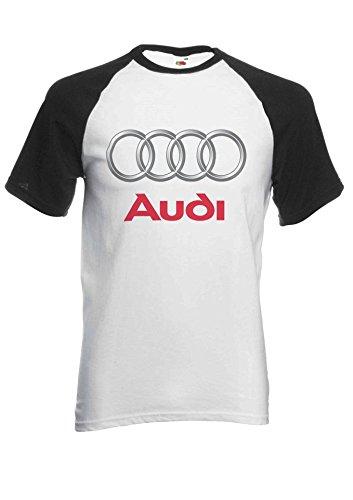 Audi Logo S Line R8 German Car Cool Novelty Black/White Men Women Unisex Short Sleeve Baseball T Shirt-L -