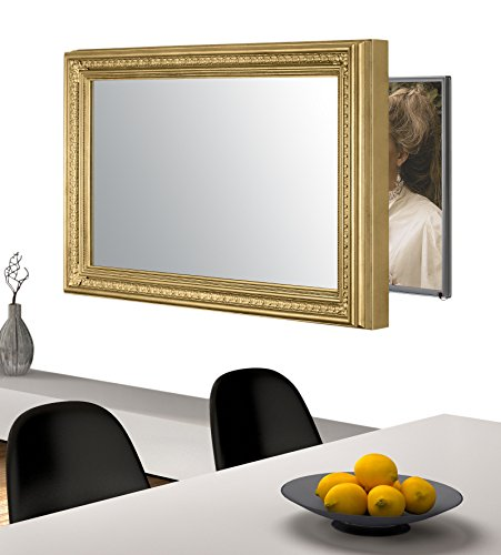 Handmade Framed Mirror to Turn Your Existing TV to Hidden Mirrored Television that Blends into Your Home or Business Decor (55 Inch, Patterna Gold)