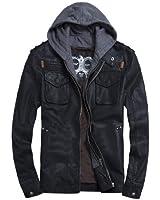 Voguehive Men's Cool Zip Up Leather Hooded Biker Jacket Rock Punk Jackets Coat