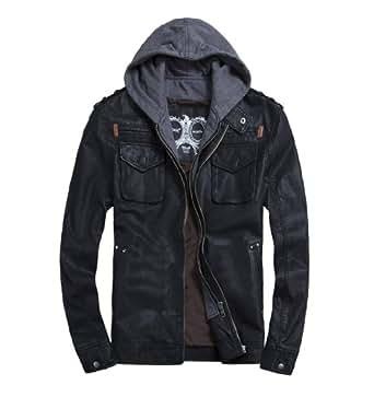 THOOO Men's Cool Zip Up Leather Hooded Biker Jacket Rock Punk Jackets Coat Black XXL