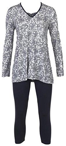 Nina von C. Damen Pyjama Schlafanzug Homewear Romantischer Paisley All - Over Druck, Farbe:Mehrfarbig, Grösse:L - 40 -