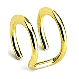 Kultpiercing double anneau d'oreille factice en acier chirurgical et or