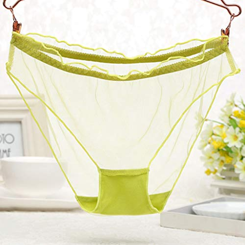 Tandou Frauen niedrige Taille Erotisch Durchsichtige Mesh Durchsichtige Höschen Rüschen Saum Ultra Dünn Slip Unterwäsche G-String Dessous Tangs für Sex 10 Farben Y -