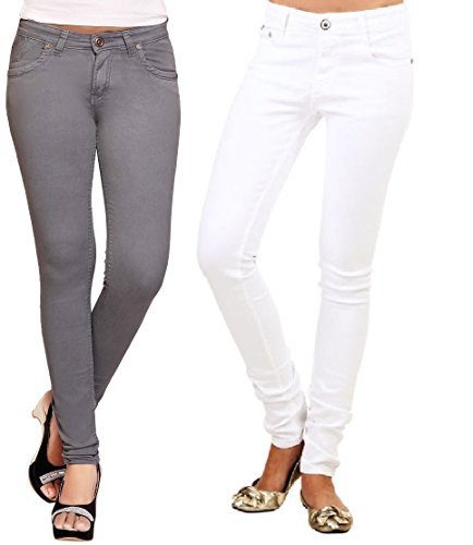 Adbucks Silky Cotton Lycra Stretchable Womens Jeans (Combo of 2) (36, White+Grey)