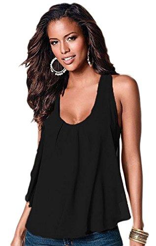 Leisial Chaleco Camisetas Sin Mangas de Gasa Ocasionales Flojas Blusa Atractiva Camiseta Tapas de Verano Primavera Para Mujeres,Negro