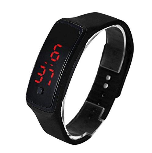 Sannysis Ultra Thin reloj deportivo LED silicona reloj de pulsera deportivo (Negro)