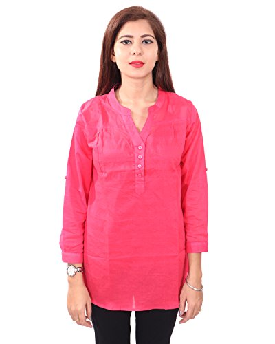 Twist Women's Rose Self Design Casual Party Wear 3/4th Sleeve Short Kurti...