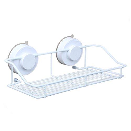 ounona Badezimmer Wandregal Badezimmer Dusche Lagerung mit Saugnapf (weiß) (Badezimmer-speicher-körbe)