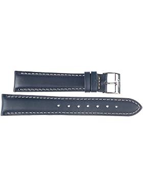 24 mm KAISER Uhren Lederband Uhrenarmband Lederuhrband Dunkelblau 24 mm Schliesse: weiss