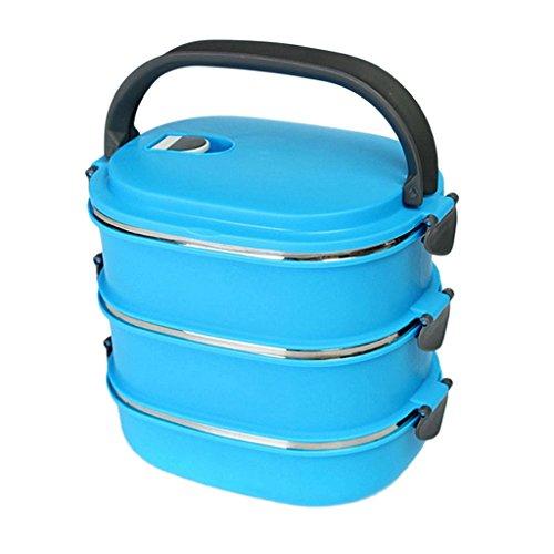 Baoblaze 1-3 Schichten Thermobehälter Thermoschüssel Isolierschüssel Isolierbehälter - Blau, 20 * 15 * 18.5cm