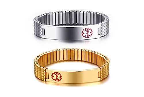 Vnox 2 Stück Medical Alert Armband Benutzerdefinierte Edelstahl Einstellbare Stretch Medical ID Armband Sos ICE Personalisierte Gravur für Männer F...