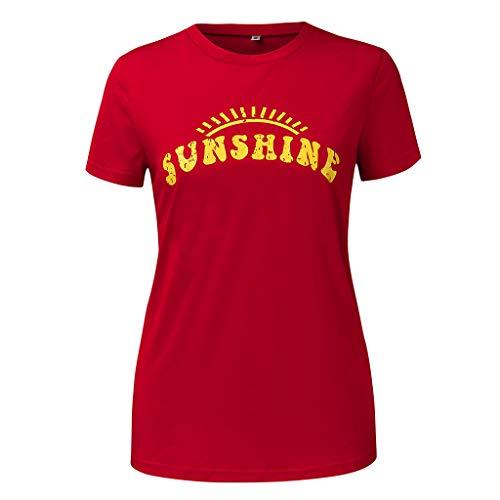 routinfly Frauen Kurzarm T-Shirt,Lässig bedrucktes T-Shirt mit kurzen Ärmeln Sommer Druck Taschen Kurzarm Shirt Casual Tunika Tops Bluse Einfacher Stil M-XL - Floral Print Knit Bluse