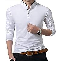 MO GOOD Mens Casual Slim Fit T Shirts Fashion Comfy Long Sleeve Polo T-Shirts (White, US M)