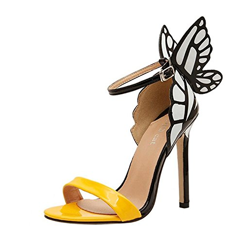 Minetom Donne Ragazze Stilettos Scarpe Open Toe Estate Sandali con farfalla Yellow UK 5,5
