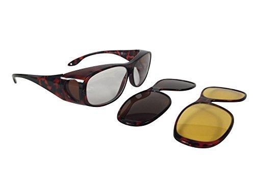 Überzieh Sonnenbrille Überbrille Sonnenüberbrille Nachtsichtüberbrille MAGNETIC EDITION 2 Wechselrahmen magnetisch polarisiert UV 400 (Rahmenfarbe Leopard, Linsenfarbe Braun & Gelb)