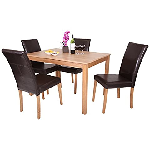 OAKDEN 5 PCS OAK DINING TABLE AND 4 x FAUX LEATHER HIGH BACK CHAIR SET WOOD (Brown)