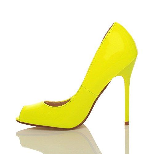 Femmes talon haut fête simple bout ouvert escarpins chaussures sandales pointure Néon jaune verni