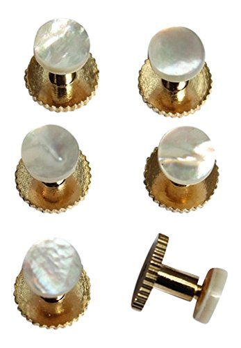 Dress Shirt Studs Set of Six Gold Colour and Pearl in Gift Box