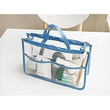 HOYOFO portátil transparente impermeable PVC bolsa de viaje para maquillaje neceser cosméticos Monedero Bolsa de almacenamiento caso organizador en bolsa de mano con doble cremallera azul azul