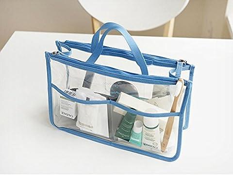 hoyofo tragbar transparent Wasserdicht PVC Reise Make-up Tasche Kosmetiktasche Lagerung Fall Organizer Hand Pouch Bag in Bag mit Doppelreißverschluss blau blau
