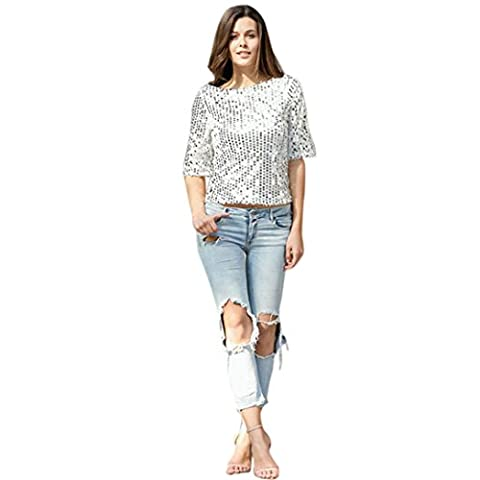 QUINTRA Summer Fashion Women Short Sleeve Loose Casual T-Shirt Shirt Blouse Tops Ladies (S, Sliver)