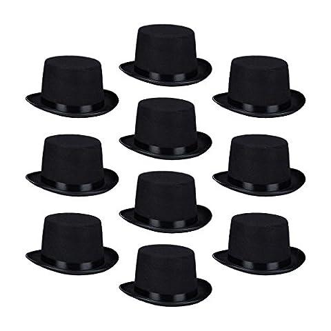 10 x Zylinderhut schwarz, Fasching, Karneval, Zauberer, Magier, Einheitsgröße, Gentleman,