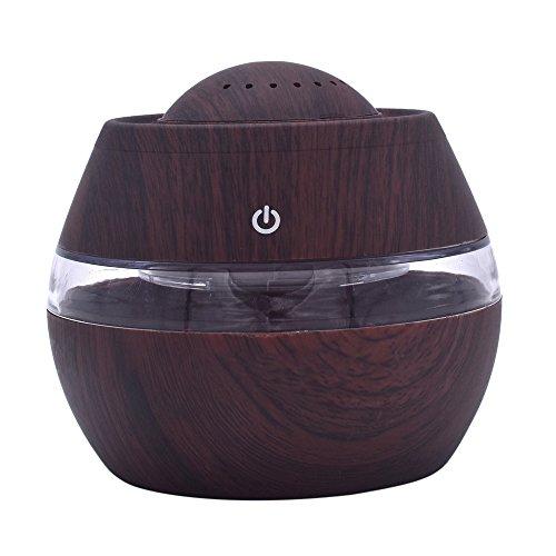 Holzmaserung Ätherisches Öl Aromatherapie Maschine Luftbefeuchter,Jaminy 300ml Luftbefeuchter Ultraschall Diffuser Aromatherapie Luftbefeuchter Holzmaserung Duftspender für ätherische (Braun)