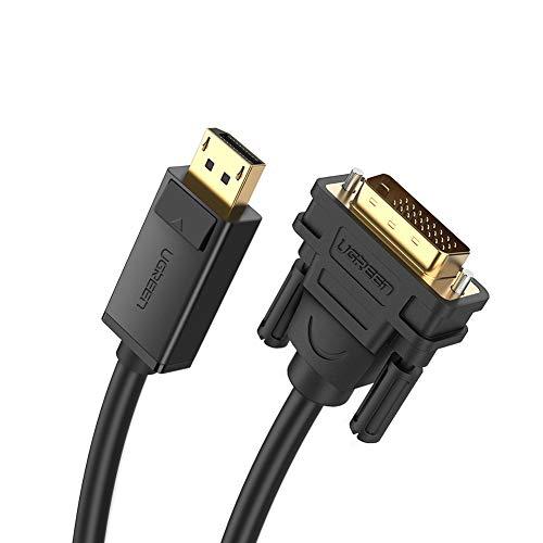 UGREEN DisplayPort DVI Kabel 2m DisplayPort auf DVI Verbindungskabel 1080P mit vergoldete Kontakte für Grafikkarte, Monitor, Beamer, Projektor, HDTV usw.