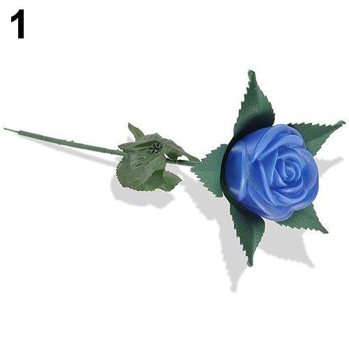 little finger Künstliche Flora Blume mit LED-Licht Raum Garden Yard Lampe Dekoration, Plastik, Blau, 16.54